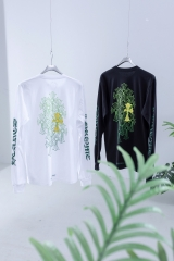 CHROME HEARTS Crowe heart green messy cross arm letters long sleeve TEE  罗心绿黄LOGO长袖T恤