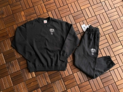 Nike x stussy crew fleece  Co branded sweater CT4311-063  司徒奈奈黑灰套装